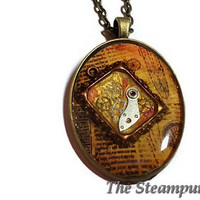 Steampunk Pendant Necklace - Old Newspaper