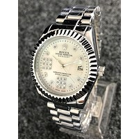 Rolex Popular Women Men Simple Movement Watch Diamond Wristwatch Silvery