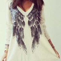 White V-Neckline Long Sleeve Wing Printed Loose Fitting Mini Dress