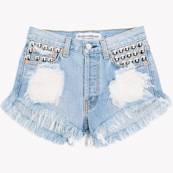 450 Light Aged Studded High Waist Shorts