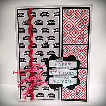 Stamped card, happy birthday, vintage telephones, pink and black, rick rack trim, string bows, green rhinestones, birthday card