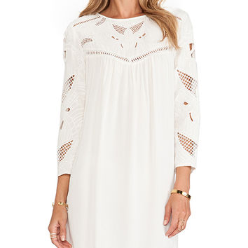 Twelfth Street By Cynthia Vincent Embroidered Yoke Mini Dress in Ivory