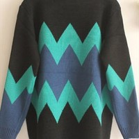 Fashion blue and black sweater from Fanewant