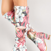 Perforated Leatherette Tropical Floral Knee High Boot
