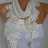 Spring Creamy White Scarf Mother's Day Gift Cotton Shawl Necklace Cowl Bridesmaid Gift Gift Ideas For Her Women Fashion Accessories Scarves