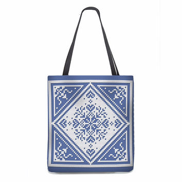 Christmas Tote Bag, Scandinavian Snowflake in white on Copenhagen blue