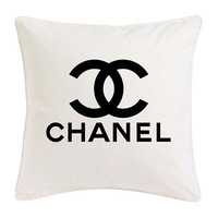 White and black Chanel Ispired Pillow Logo