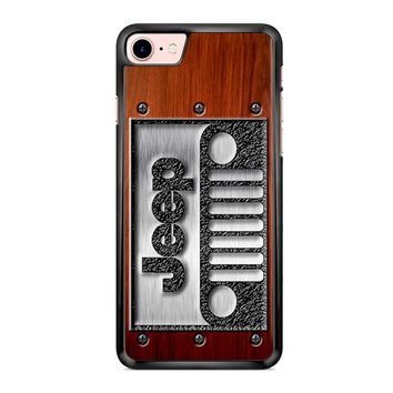Embossed Steel Jeep Logo On Wood iPhone 7 Case