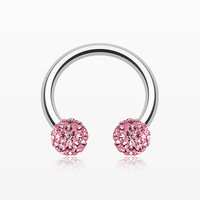Multi-Gem Sparkle Horseshoe Circular Barbell