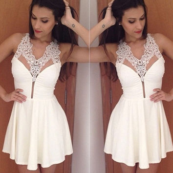 Women Sexy Mini Dress Evening Skirt Party Clubwear Floral Sling V Neck Sleeveless White S-XL 658777 = 1946157700