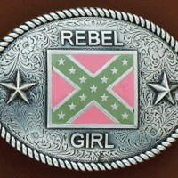 Nocona Rebel Girl Belt Buckle-Rebel Flag