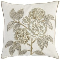 Romantic Glam Beaded Rose Pillow - Gold