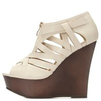Qupid Zip-Up Peep Toe Wedges by Charlotte Russe