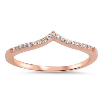Sterling Silver Rose Gold-Tone Plated CZ Simulated Diamond Tiara Ring 4MM