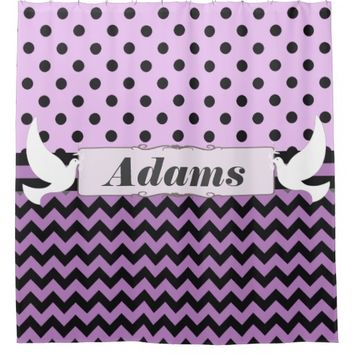 Doves Purple Black Polka Dot Chevron Ribbon Custom Shower Curtain