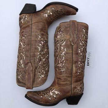 Corral Women's Corral Cognac Glitter Inlay and Embroidered Boots