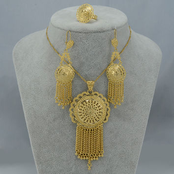 Ethiopian set Jewelry Gold Plated African Pendant Necklaces Earrings Ring Dubai Set Nigeria/Arab/India/Middle East Gifts #000311