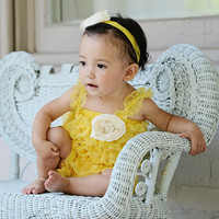 Lace Petti Romper for Girls- Baby yellow- Embellished Pearl Flower