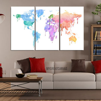 Pastel Colors WORLD MAP Canvas Print - 3 Panel Canvas Art Print - Ready to Hang - Colorful Watercolor World Map