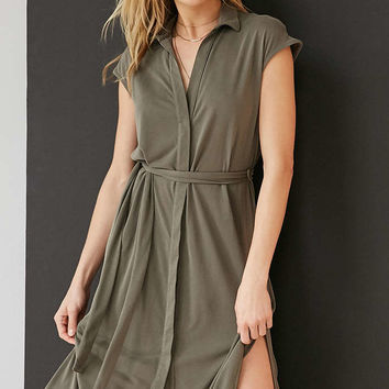 Silence + Noise Collared Knit Shirt Midi Dress - Urban Outfitters