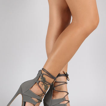 Shoe Republic LA Corset Lace Up Peep Toe Heel