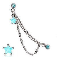 316L Surgical Steel Double Chained Cartilage Earring with Aqua Star - 16g (1.2mm), 1/4 (6mm) Length, 4mm Ball Size - Sold Individually