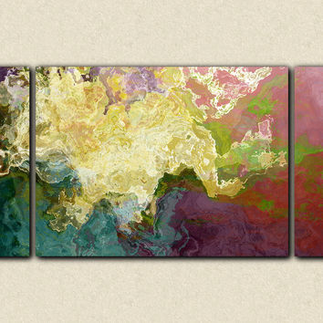 "Abstract art oversize triptych stretched canvas print, in teal, mauve and cream, ""Hope"", 30x60 to 40x78"
