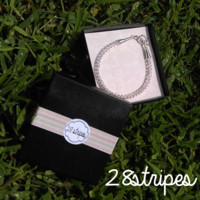 Silver Viking Knit Wire Toggle Clasp Bracelet with Gift Box