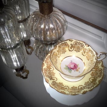 Antique Paragon pale yellow and gold gilt, floral tea cup and saucer, Paragon English tea set, wedding gift