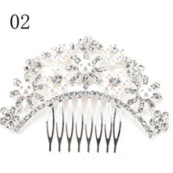 Women Girl Bridal Wedding Silver Crystal Rhinestone Diamante Flower Hair Clip Comb Pin Apparel Accessorie Headwear Hair Comb SM6