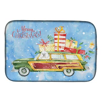 Merry Christmas Maltese Dish Drying Mat CK2414DDM