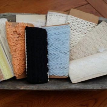 Lot of Vintage Lace Trim Blue Peach Black White Cream for Sewing Card Making Scrap Booking Jewelry Altered Art Upcycling Repurposing