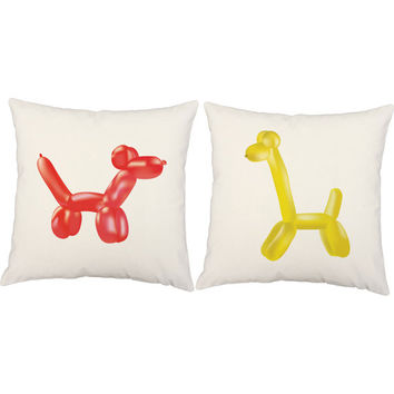 Set of 2 Balloon Animal Pillows - Balloon Dog and Giraffe Throw Pillow Covers with or without Cushion Inserts - Kid's Room Decor, Jeff Koons