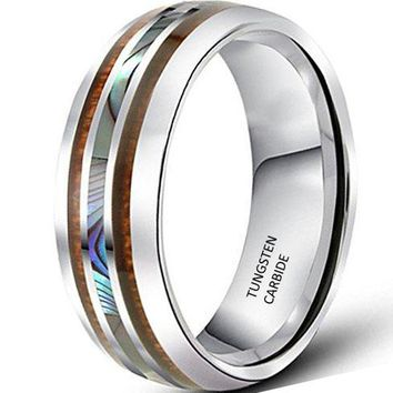 CERTIFIED 8mm Tungsten Silver Vintage Wedding Engagement White Band with Shell Koa Wood Inlay Domed Ring