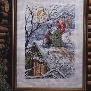 Counted Cross Stitch Kit Christmas Gnome Cat on a Snowy Roof Santa Winter Snow