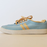 Vintage 70s Canvas Sneakers Blue Tennis Shoes With Terry Cloth Trim Canvas Shoes Women's Size 8 ""