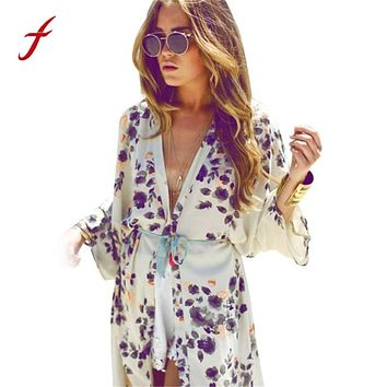 Women Summer Blouse 2017 Fashion Floral Printed Half Sleeve Casual Beach Boho Kimono Cardigan Long Blusas Chiffon Tops Cover Up