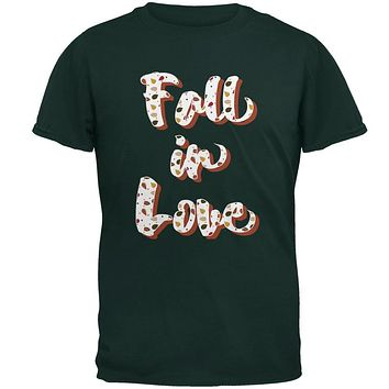 Autumn Fall in Love Leaves Pattern Mens T Shirt