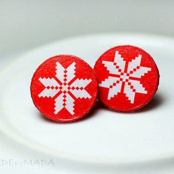 Nordic sweater Post Earrings Christmas Jewelry red white, Gift for her under 15