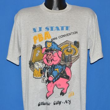 90s NJ State PBA Police Pig t-shirt Large