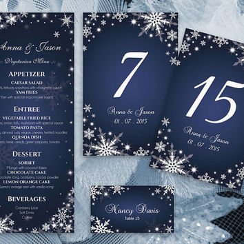 DIY Printable Wedding Table Package Deal Templates | Editable MS Word file | Instant Download | Winter White Snowflakes Royal Navy Blue