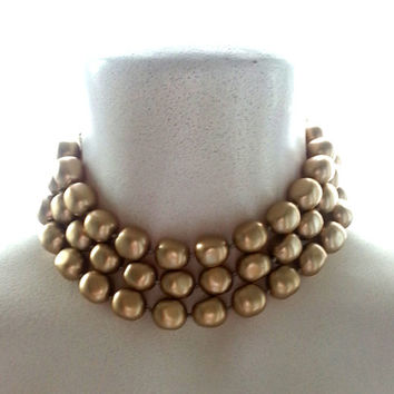 Carolee Triple-strand Gold Pearl Choker Chunky Statement Necklace Hand-Knotted Signed Vintage Free Shipping