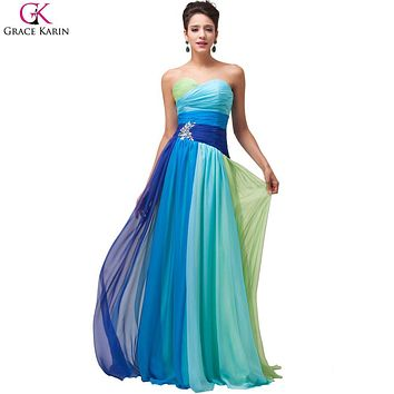 Robe De Soiree Longue Grace Karin Evening Dresses Ombre Chiffon Strapless Long Formal Gowns Elegant Party Dress Evening Dresses