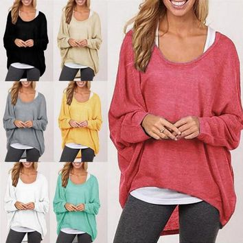 Women Long Sleeve Irregular T-shirt Pullover Sweat Shirts Loose Baggy Jumper Tops Batwing Knitted Loose Blouse T Shirt 8 Colors OOA3860