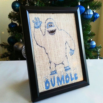 Bumble the Abominable Snowman 5x7 Framed White Burlap Print