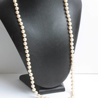 Faux Pearl Necklace Hand Knotted 30 Inch Opera Length