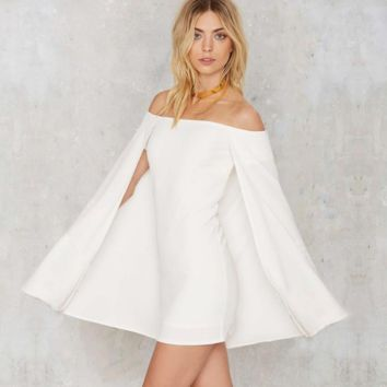 Fashion Sexy off shoulder show thin cloak dress
