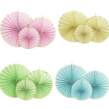Pink, Yellow, Blue , Green Party Fans Set-Birthday Party | Flower Paper Fan Set| First Birthday Party |Baby Shower|Bridal Shower | Back Drop
