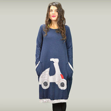 Blue cotton dress / long sleeves dress / women casual dress / dress with scooter applique / women loose dress / gift for her / pockets dress