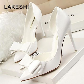 e8e69678a6ac LAKESHI 2018 Fashion Women Pumps Sexy High Heels Wedding Shoes S